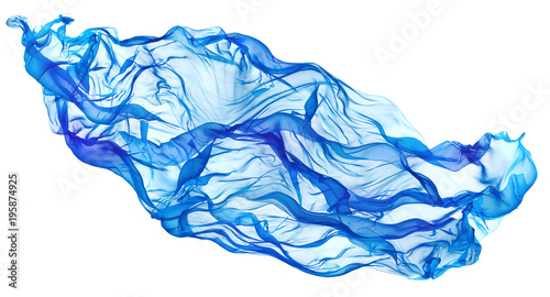 Fotobehang Stof Flying Blue Fabric Wave, Flowing Waving Silk Cloth, Fluttering Waves Material on White Background