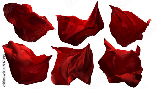 Fotografie, Obraz  Red Flying Fabric Pieces, Flowing Waving Cloth, Shine Satin Clothes Drapes, Isol