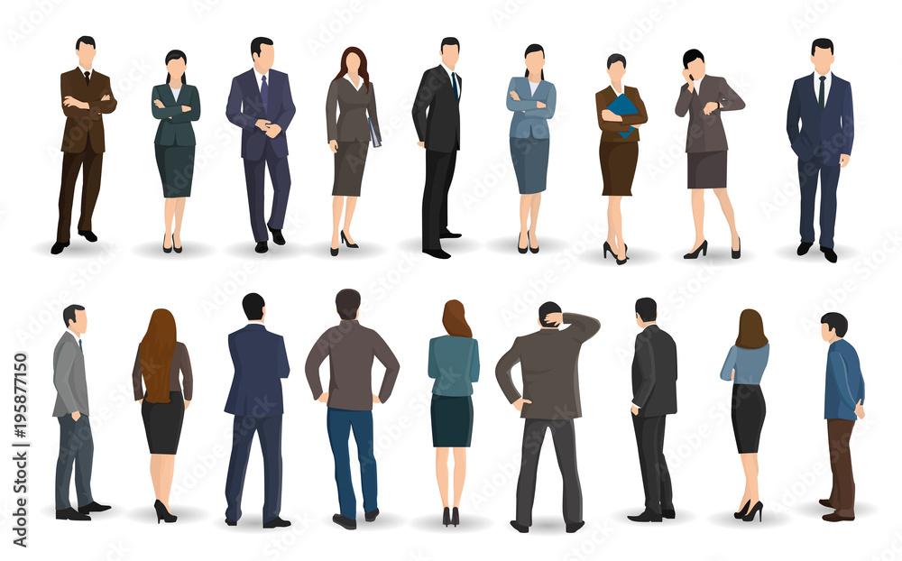 Fototapeta Business men and women stand facing or back