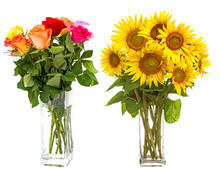 Roses In Vase And Sunflowers I...