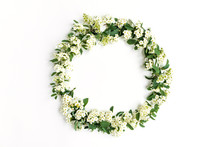 Flowering Flower Wreath Of Spirea Arguta (brides Plant) On White Table. Flat Lay, Top View