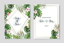 Floral Set. Wedding Invitation, Save The Date, Rsvp, Invite Card. Vector Illustration. Celebration Template