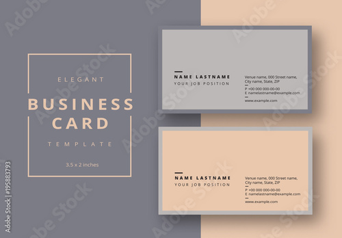 Business card layout with gray and tan accents buy this stock business card layout with gray and tan accents reheart Images