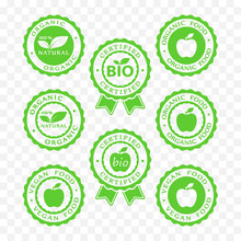 Bio, Vegan, Organic Food And Products Icon Set, Bio, Vegan, Organic Packaging Batch Sticker Symbols