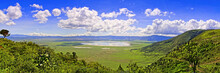 Panoramic View Of Crater Ngorongoro At The Afternoon/ View From The Height Of The World Famous Reserve Ngoro Ngoro Where The Remains Of The Very First Person Were Found