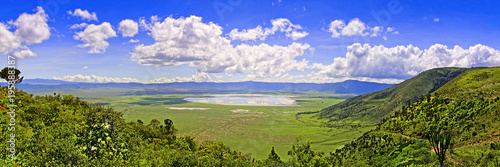 Tablou Canvas Panoramic view of Crater  Ngorongoro at the afternoon/ View from the height of t