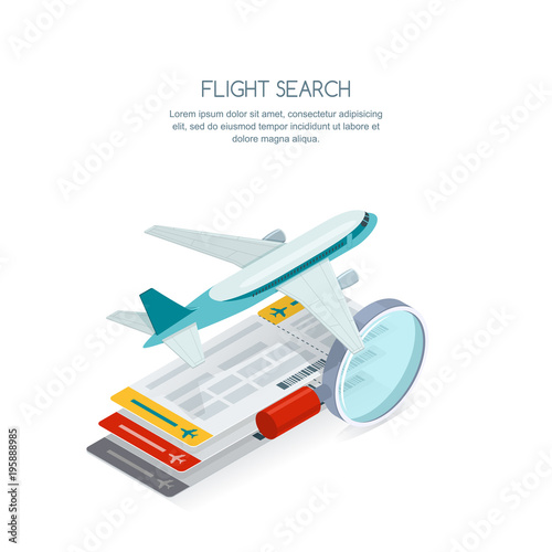 Flight search and airplane tickets service concept Canvas Print