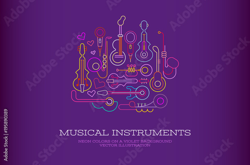 Poster Abstractie Art Musical Instruments Neon