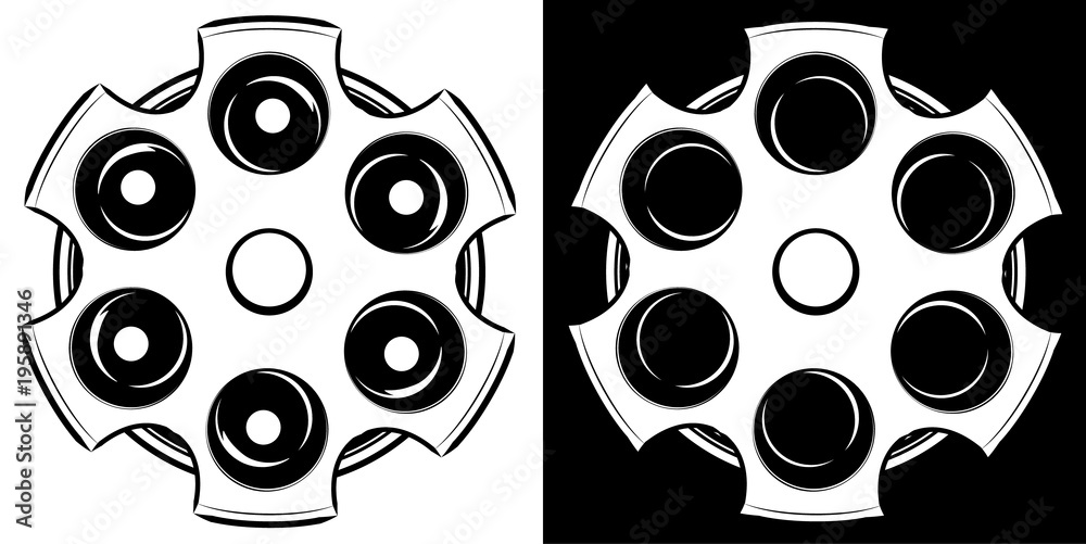 Fototapeta Cylinder of a revolver vector illustration. Russian roulette icon. Black and white
