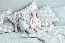 Two Soft Toy Rabbits And Pillo...