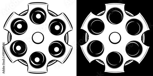 Obraz na plátně Cylinder of a revolver vector illustration