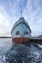 Boat Locked In Ice In A Frozen...