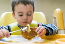 Baby Boy 2 Years Old Eating Pancake
