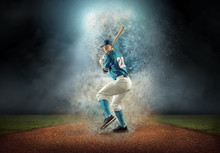 Baseball Player In Dynamic Action Around Splash Drops Under Stad