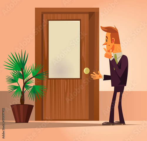 Confusion office worker man character standing near closed door and thinking Canvas Print