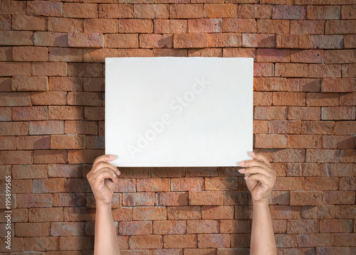 Woman Hands Holding Blank Paper For Text Or Image The