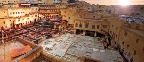 Canvas Prints Morocco Tanneries in the medina of Fes in Morocco
