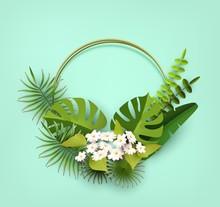 Trendy Summer Tropical Leaves,...