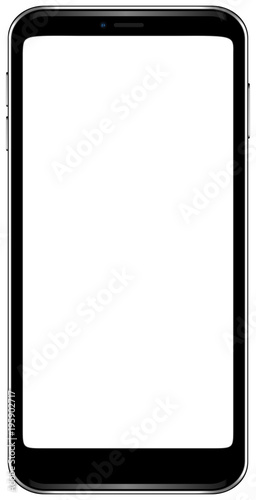 Brand new smartphone black color with blank screen mockup  Front
