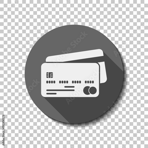 credit card mastercard icon white flat icon with long shadow in
