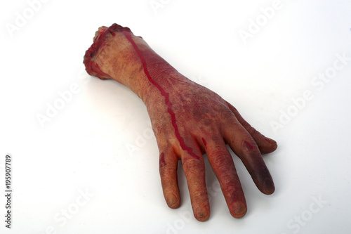Photo severed hand in the blood