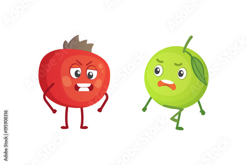 Foto op Canvas Schepselen Set of cute cartoon fruit. Vector illustration with funny characters. Funny fresh food time.