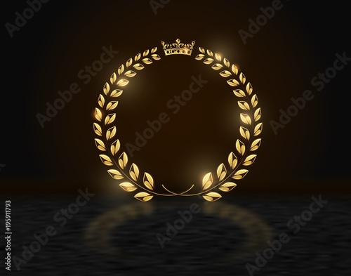 Detailed round golden laurel wreath crown award on dark background with reflection Wallpaper Mural