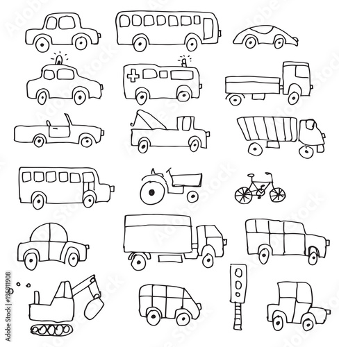 Simple hand drawn doodle cartoon cars set