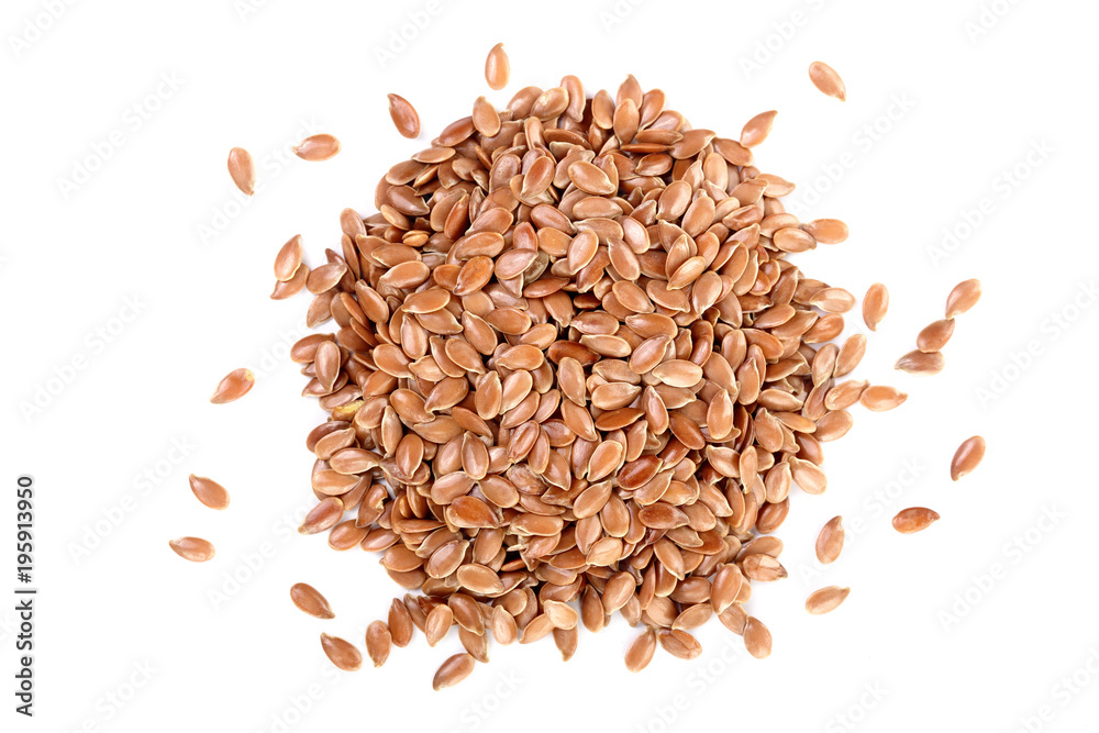 Fototapety, obrazy: flax seeds isolated on white background. Top view