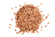 Flax Seeds Isolated On White B...