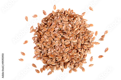 Obraz flax seeds isolated on white background. Top view - fototapety do salonu