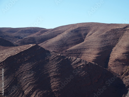 In de dag Cappuccino Rocky Atlas Mountains range landscape in southeastern Morocco near old village of Oulad