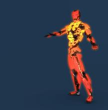 Orange Glow Robot Background