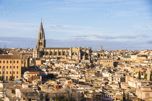 Panoramic view of the cathedral of toledo and adjacent houses. Spain
