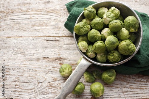 Foto op Canvas Brussel Raw organic Brussels sprouts