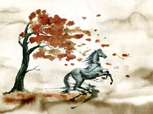 Rearing Up Horse With Ink Or Watercolor Blots Stains And Autumn Tree With Fall Leaves. Old Dirty Grunge Hand Painting Art Of Stallion Silhouette. England Equestrian Fox Hunting Vintage Style.