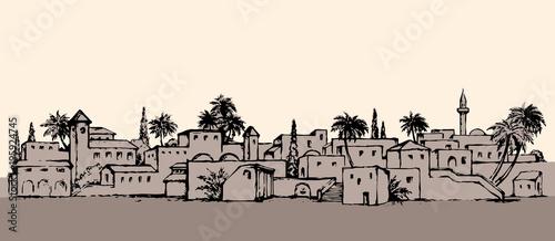 Cuadros en Lienzo City in a desert. Vector drawing