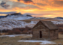 Old Homestead Cabin At Sunset