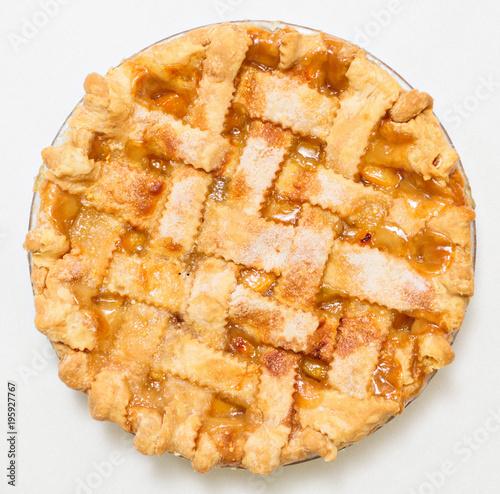 Fotografie, Obraz  Overhead peach pie with lattice