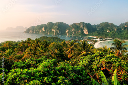 Fotografie, Obraz  View of Phi Phi Don Island from an overlook, Krabi Province, Thailand