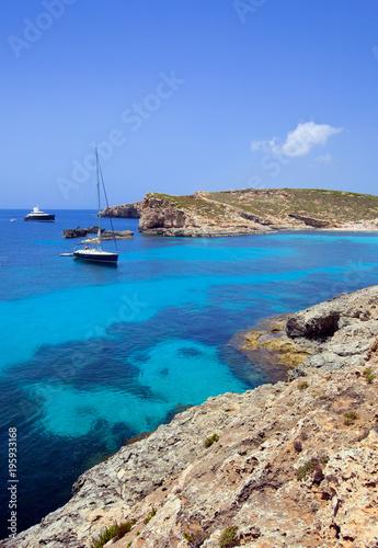 Poster Turquoise Beautiful landscape of Blue Logoon of Malta