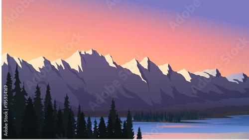 Fototapeta Mountain range, lake and forest, sunset obraz na płótnie