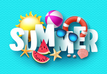 Summer 3d Text Vector Banner Design With White Title And Colorful Tropical Beach Elements In Blue Pattern Background For Summer Season. Vector Illustration.
