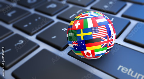 Fotomural World Flags Globe Computer Keyboard