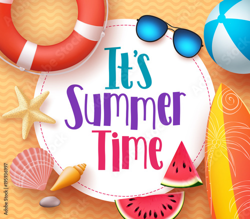 Fototapety, obrazy: It's summer time vector banner design template with colorful beach elements and white space for text and title in yellow pattern background for summer season. Vector illustration.
