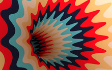 Torus Hole With Vintage Tint Striped Waves - 3D Image - Hypnotic Tunnel - Abstract Op Art Background