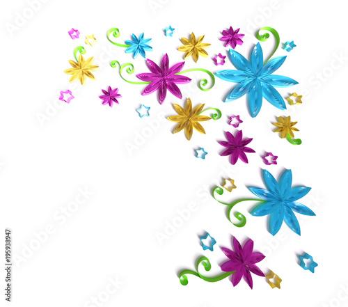 Paper Art Quilling Filigree Floral Corner Vignette Sweet 3d Render