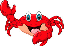 Cartoon Happy Crab Isolated On...