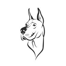 Vector Of A Dog Head (Great Da...