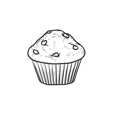 Muffin Hand Drawn Outline Dood...